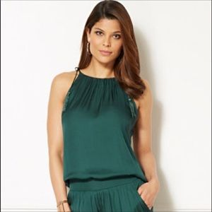 Eva Mendes Jess Tassel top in dark green XS NWT